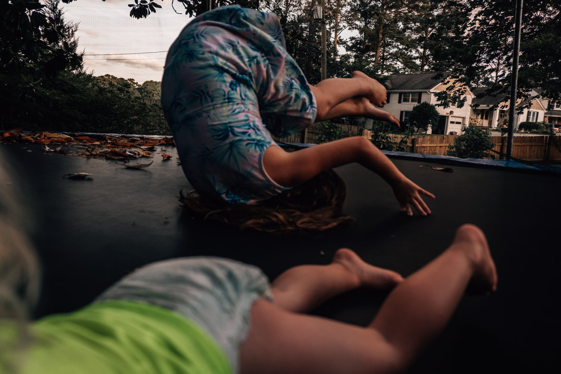kids flipping and jumping on trampoline chesapeake, virginia