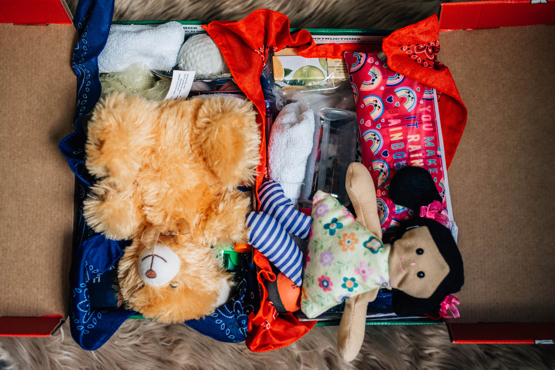 picture of two shoe boxes filled with small gifts and stuffed animals