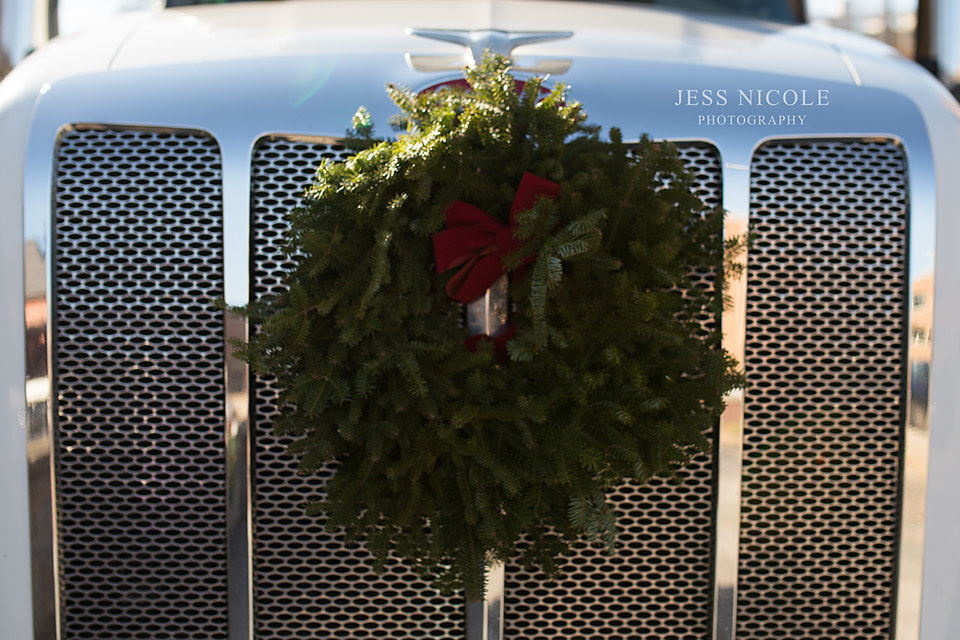 truck delivering wreaths to national cemetery in hampton, virginia