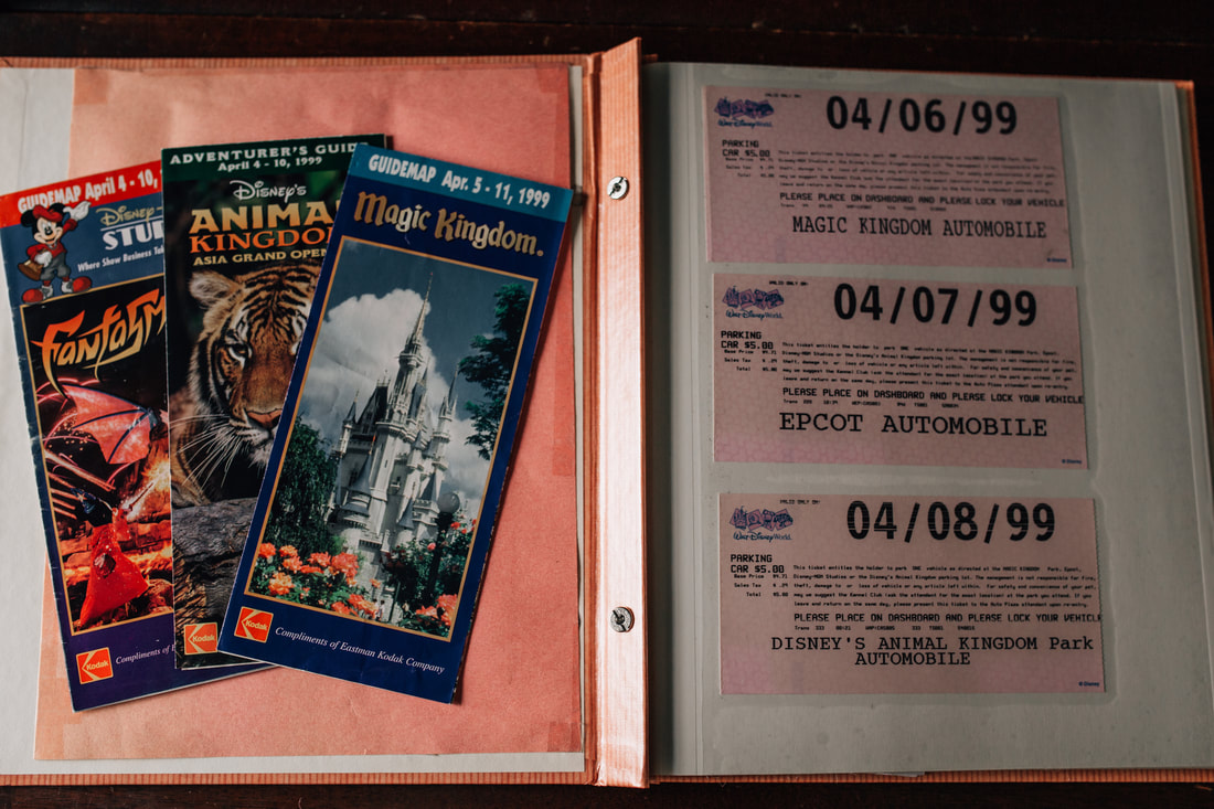 old disney maps from 1999 and parking passes from walt disney world in orlando