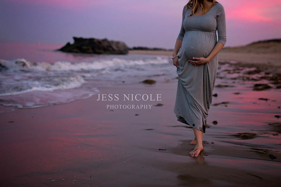 maternity session on the beach at sunset in hampton roads, virginia belly shot